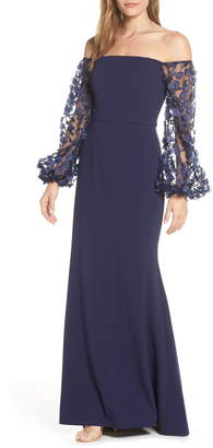 ff195a16c6ab7 Eliza J Off the Shoulder 3D Floral Sleeve Scuba Crepe Evening Dress
