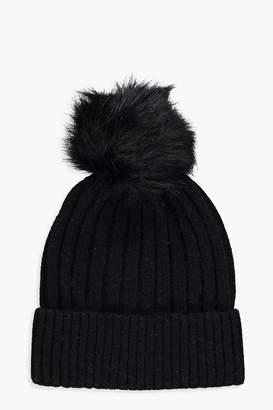 6a6a83f08a0 boohoo Rib Knot Detachable Faux Fur Beanie