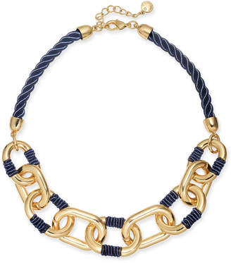 """Charter Club Gold-Tone Link Braided Cord Collar Necklace, 17"""" + 2"""" extender"""