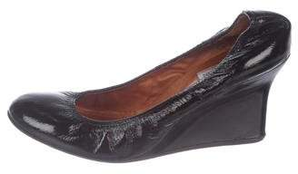 Lanvin Patent Leather Round-Toe Wedge Pumps