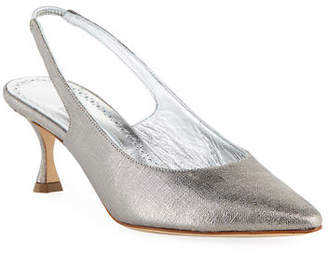 Manolo Blahnik Betty Low-Heel Metallic Fabric Slingback Pumps
