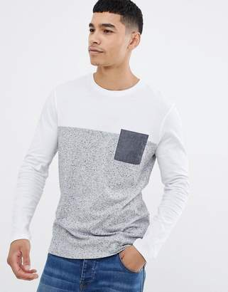 Asos DESIGN long sleeve t-shirt with contrast yoke and chambray pocket in gray