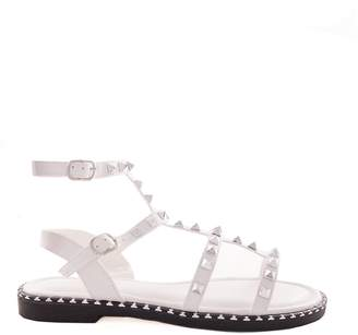 9bb60e701f8a1 Missy Empire Missyempire Nelly White Studded Strappy Flat Sandals