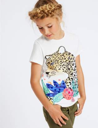 Marks and Spencer Pure Cotton Leopard T-Shirt (3-16 Years)