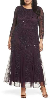 Pisarro Nights Embellished Three Quarter Sleeve Gown