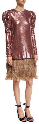 Johanna Ortiz Aurora Sequined Puff-Shoulder Dress with Feather Hem