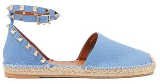 Valentino Rockstud Wraparound Strap Leather Espadrille Flats - Womens - Blue