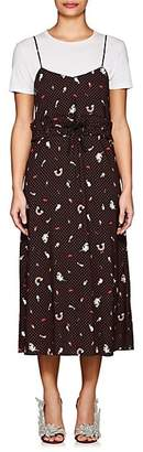 VIVETTA Women's Polka Dot Crepe Midi-Slipdress - Black