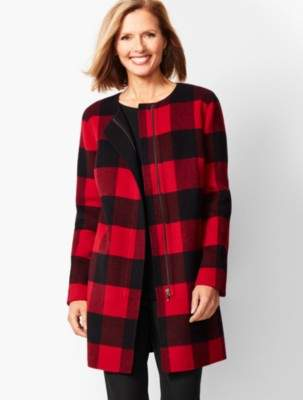 Talbots Buffalo Plaid Double-Face Topper