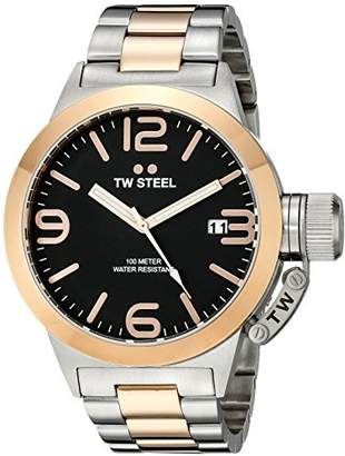 TW Steel Canteen Unisex Quartz Watch with Black Dial Analogue Display and Silver Stainless Steel Bracelet CB131