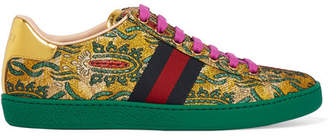Gucci Ace Metallic Leather-trimmed Brocade Sneakers - Green
