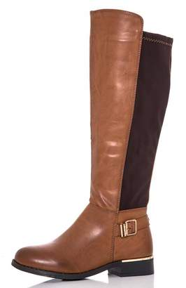 Quiz Brown PU Stretch Buckle Boots
