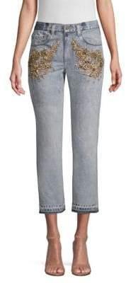 Le Superbe Superbe Embellished Cropped Jeans