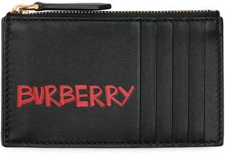 Burberry Graffiti Print Leather Zip Card Case