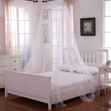 TurdyIsa Palace Round Elegant Summer Polyester Breathable Mosquito Net Flying Bugs Net Mesh Bed Canopy Netting Bedding White