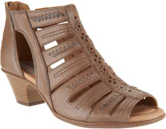 Earth Leather Multi-strap Peep-toe Booties - Vela