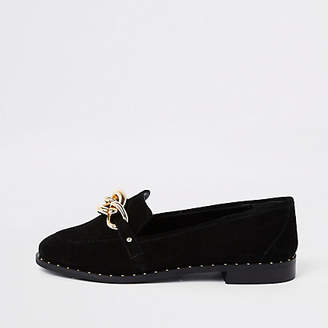 River Island Black suede gold tone chain loafers