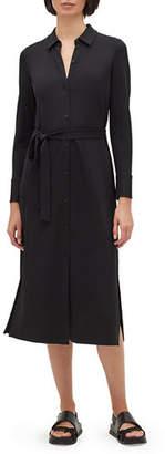 Lafayette 148 New York Rea Long-Sleeve Matte Jersey Shirtdress