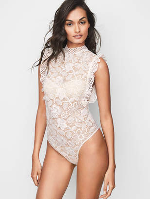 Victoria's Secret Dream Angels Eyelet & Crochet Lace High-neck Bodysuit