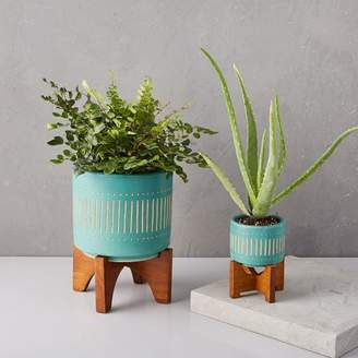 west elm Mid-Century Turned Leg Tabletop Planters - Turquoise