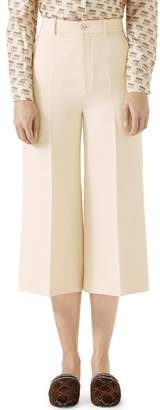 Gucci Wool & Silk Cady Wide Leg Crop Pants