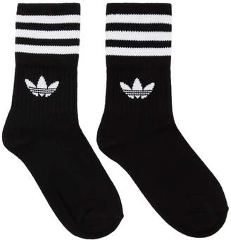 adidas Three-Pack Black and White Striped Mid Cut Socks