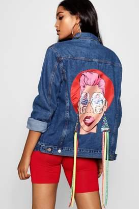 boohoo Face Motif Denim Jacket