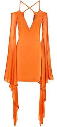 Balmain Cold-Shoulder Draped Stretch-Jersey Mini Dress
