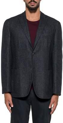 Boglioli Blue/bordeaux Checked Wool Blazer
