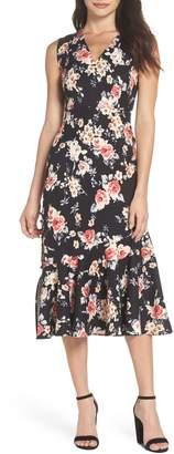 Chelsea28 Floral Back Cutout Midi Dress