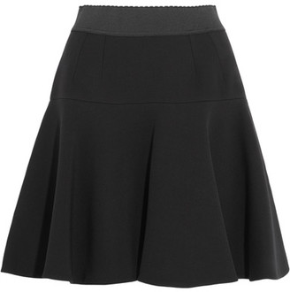 Dolce & Gabbana - Flared Stretch Wool-blend Mini Skirt - Black $995 thestylecure.com