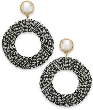 "INC International Concepts I.n.c. Extra Large 2.5"" Gold-Tone Imitation Pearl Tweed Drop Hoop Earrings"