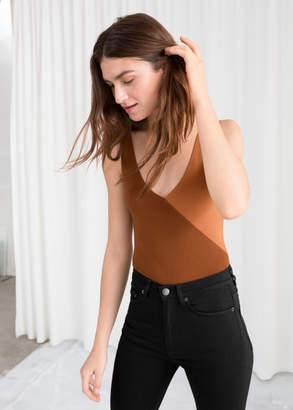 And other stories Diagonal Colour Block Bodysuit