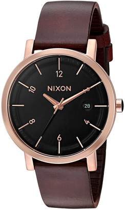 Nixon Men's 'Rollo 38' Quartz Stainless Steel and Leather Watch, Color Brown (Model: A9841098)