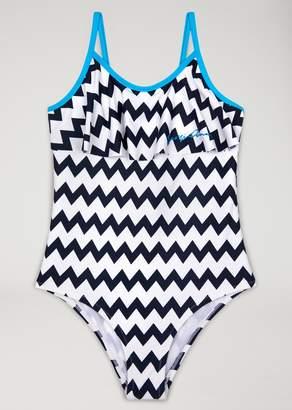 Armani Junior Swimming Costume With Zigzag Motif
