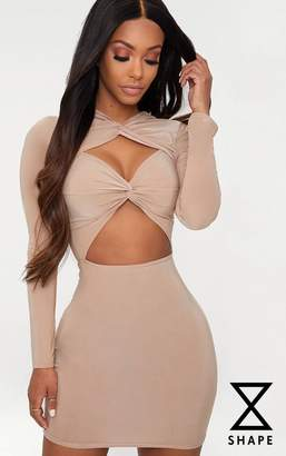 PrettyLittleThing Shape Taupe Slinky Cut Out Long Sleeve Bodycon Dress