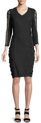 XCVI Arya Stretch Poplin Ruched Lace Dress, Plus Size