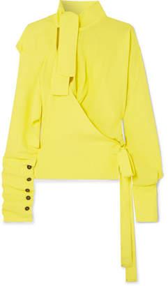Vivienne Westwood Mirror Cutout Pussy-bow Crepe De Chine Blouse - Yellow