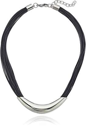 ELYA Jewelry Womens Stainless Steel Multi-strand Faux Leather with Elongated Tube Choker Necklace