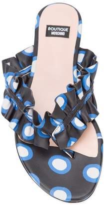 Moschino polka dot ruffled thong sandals