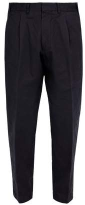 The Gigi - Pleated Front Tapered Leg Cotton Trousers - Mens - Navy