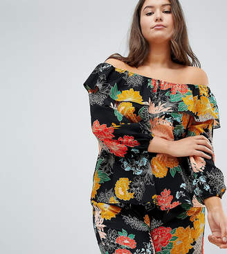 Glamorous Curve Bardot Top In Bold Floral Two-Piece