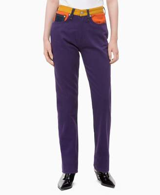 Calvin Klein CKJ 030 straight high rise colorblocked patch jeans