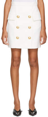 Balmain White Wool Six-Button Miniskirt