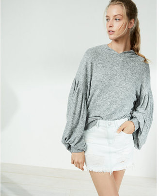 Express Brushed Balloon Sleeve Popover Hoodie $59.90 thestylecure.com