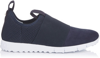 Jimmy Choo OAKLAND/M Navy Mesh and Suede Trainers