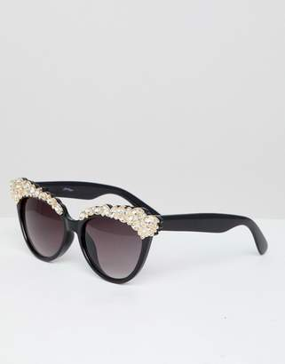 Jeepers Peepers Pearl Embellished Novelty Sunglasses