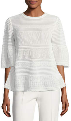 M Missoni 3/4-Sleeve Rib-Stitched Top
