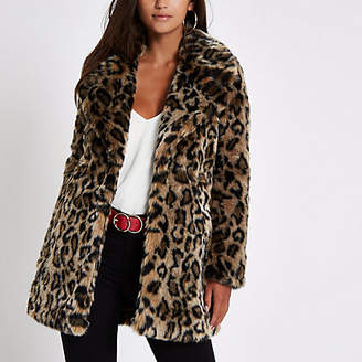 River Island Womens Petite Brown leopard print faux fur coat