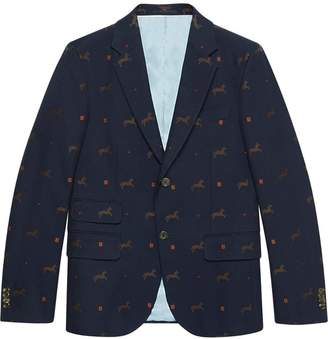Gucci Cambridge horse pattern gabardine jacket